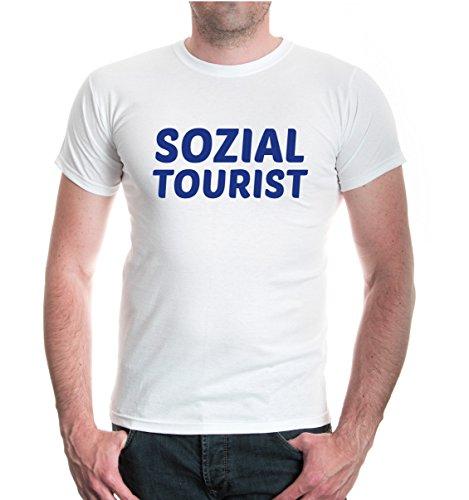 buXsbaum® T-Shirt Sozialtourist White-Royal