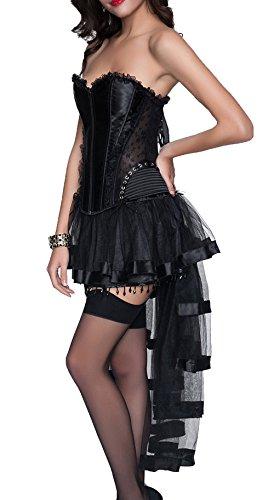r-dessous sexy Corsagenkleid Corsage + Rock Mini Kleid schwarz Cocktailkleid kurz Partykleid Abendkleid Gothic Schwarz