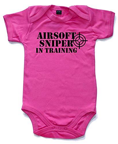 Airsoft Scharfschütze in Training Gedruckt Kurzärmlig Strampler in 5 Farben und 4 Größen Baby Weste Strampler - Kaugummi Rosa, 12-18 Months