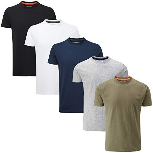 Charles Wilson 5er Packung Einfarbige T-Shirts mit Rundhalsausschnitt (Large, Mixed Essentials Type 23)