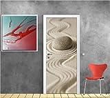 Stickersnews - Stickers porte déco galet sable réf 9510 73x204cm Dimensions - 73x204cm
