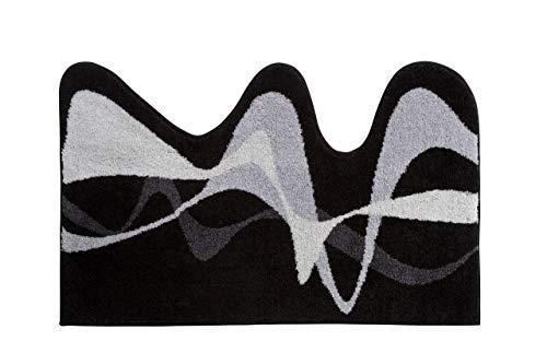 Grund KARIM RASHID Exklusiver Designer Badteppich 100% Polyacryl, ultra soft, rutschfest, ÖKO-TEX-zertifiziert, 5 Jahre Garantie, KARIM 19, Badematte 50x80 cm, grau-schwarz