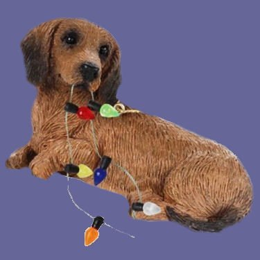 Sandicast Ornament Dackel Rot mit Weihnachtslichtern Ornament (XSO04404) Sandicast Ornament Dachshund Red with Christmas Lights Ornament (XSO04404)