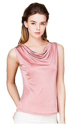 Damen Reiner Seide Tops Aermellos T-Shirt Cowl Neck Vest Rubber Rot M Soft Cowl Neck