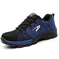 H-Mastery Steel Toe Cap Trainers Mens Womens Safety Shoes Work Lightweight Midsole Protection(Blue,Size 9 UK)