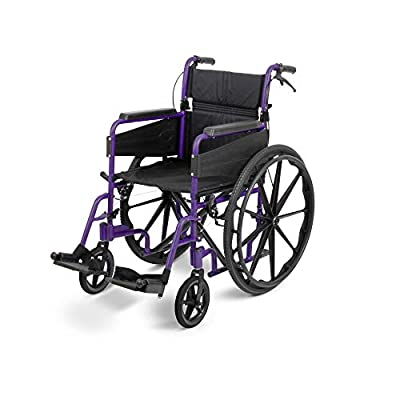 Days Escape Lite Self Propelled Wheelchair - Lightweight Aluminium Folding Wheelchair with Attendant Brakes - Suitable for Indoor and Outdoor Use