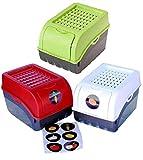 Rival 3 Boîtes de Conservation Alimentaire en Plastique pour Pommes de Terre, Légumes, Fruits, Oignons, Volume de 7,7 litres Blanc, Rouge et Vert