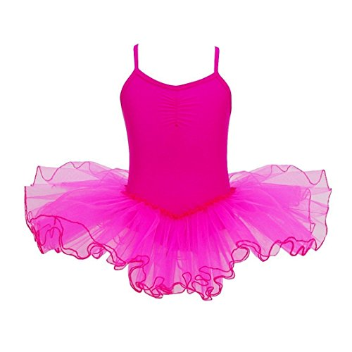 Mangotree Mädchen Ballettkleider Shirt Ballettanzug Turnanzug Girls Festzug Kleid Trikot Tanz Tüll Rock (Alter: 2-9 Jahre) (Rose rot, 140 (für 5-6 Jahre)) - Tüll-mädchen-prinzessin-ballerina-tutu