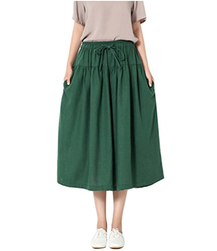 Frauen Elegant Breite Bein Hohe Taille Palazzo Leinen Pleated Culotte Palazzo Hose Capris One Size Dunkel Grün (Culottes Pleated)