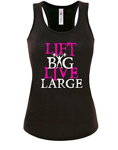 Lift Big Live Large - Damen Tanktop Schwarz-Weiß-Neonpink