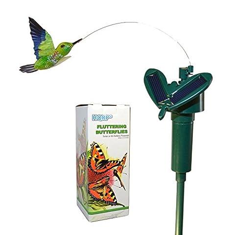 HQRP Colibri flottant volant à énergie solaire pour décor de plantes de jardin, fleurs, cour, pieu, patio, décoration