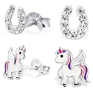 2 Paar Kristall Hufeisen + Pegasus Einhorn Ohrstecker 925 Echt Silber Mädchen Kinder Ohrringe Glücksbringer Pferde