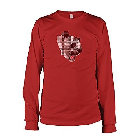 Krysom - Triangle Panda - Herren Langarm T-Shirt, Größe L, rot (Künstler Kostüm-ideen)