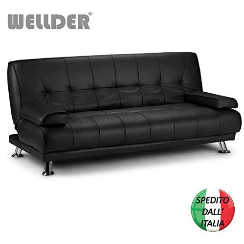 Wellder divano letto ecopelle nero 3 post una piazza e mezza reclinabile