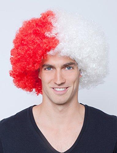 Rote Perücke Afro (Perücke Afro rot/weiß keine)