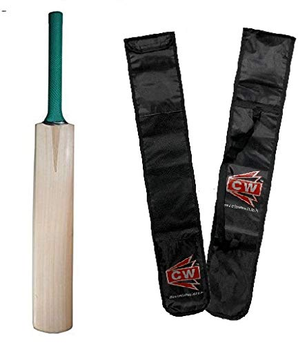 CW Plain Base Kashmir Willow Cricket Bat with Big Edges and Cover, Full Size (Multicolour, CW_PKW_CB_298)