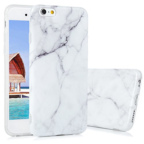 iPhone 6 Marmor Handyhülle,KASOS iPhone 6S Marble Hülle Protective Case TPU Silicone  mit IMD Technologie Design,Grau und weiß