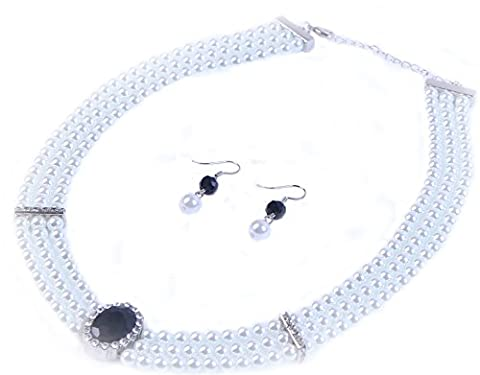Three Layer Faux Pearl Necklace Pendant with Rhinestone links and Black diamond cut crystal Bead encircled by Diamante with matching Earrings Costume Fashion Jewellery