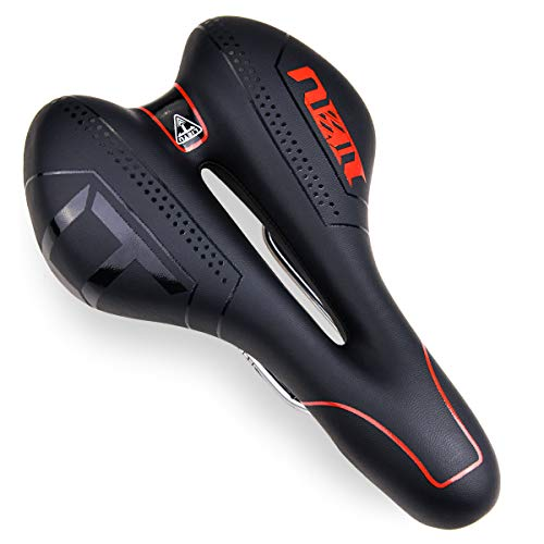 FOCHEA Fahrradsattel, Fahrrad Sattel Herren Damen Gepolsterter Memoryschaum Fahrradsitz Gel MTB Sattel Universelle Passform für Fahrrad, Mountainbike und die meisten Fahrräder (Rot)