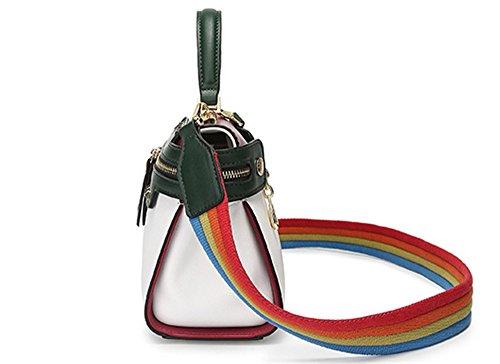 XinMaoYuan Casual colore Bump donna borsa ampia con spallamento di polizza di carico borsa a tracolla,verde Bianco