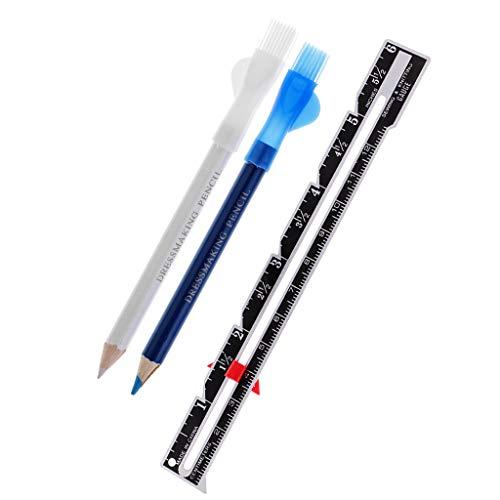 perfk Kreide Markieren Schneiderkreidestift Set + Metall Schneiderlineal