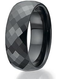 8mm facettiert Design schwarz Keramikring