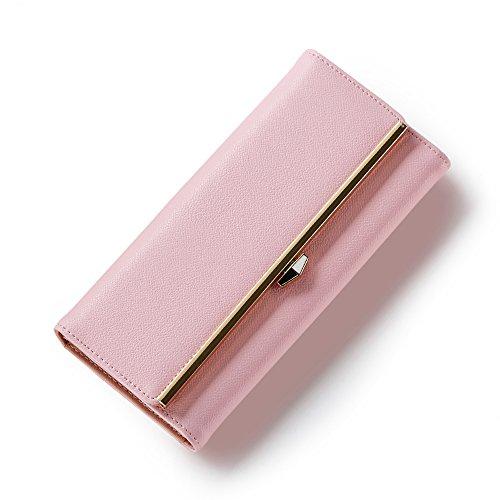 Portafoglio Donna - Borsa in Pelle di Cuoio Dell'unità di Elaborazione Borse di Supporto Donne Delle Borse Dell'inarcamento Della Frizione (Fucsia) Rosa