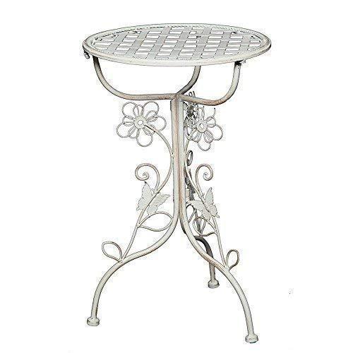 Linoows Romantique Art Nouveau Blum-Côté, Table D'Appoint, Nostalgie Fer Table