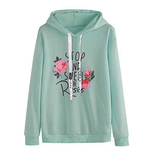 Lazzboy Sweatshirt Frauen O-Neck Hoodie Pullover Langarm Brief Drucken Tops Damen Locker Rose Stickerei Mit Kapuze Herbst T-Shirt Lose Mantel(Grün,L)