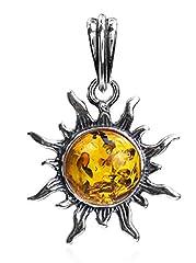 Idea Regalo - Noda - Pendente a forma di sole in ambra baltica color miele e argento sterling, misura piccola