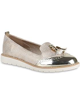 Damen Slipper Lack | Plateau Loafers | Metallic Schuhe Profilsohle | Loafer Flats Glitzer | Slippers Quasten Lochung...