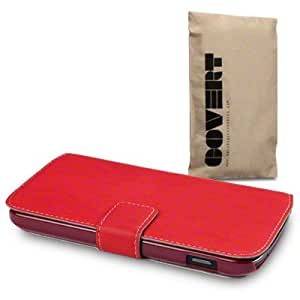 Google Nexus 4 Low Profile Covert Branded PU Leather Wallet Case / Cover / Pouch / Holster - Red
