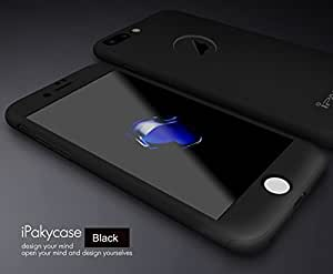 """AE (TM) 360 DEGREE FULL BODY All-Round Protective Slim Fit Hybrid Body Front + Back Cover Case with Tempered Glass for Apple iPhone 7 (4.7"""") (BLACK)"""