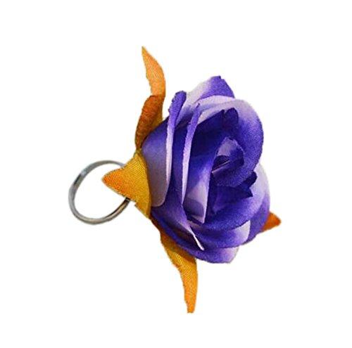4 morceaux de bijoux faits à la main élégant Bague marine roses bleues réglable