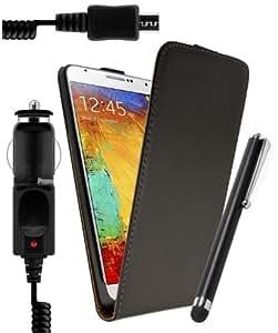 *** SAMSUNG GALAXY TREND 2 S7570/ S7572 ***Housse Etui Coque Ultra FIN en Cuir Noir + STYLET Ecran CAPACITIF Smartphone + Chargeur Allume-cigare Voiture Express Auto 100% Compatible pour SAMSUNG GALAXY TREND 2 S7570/ S7572