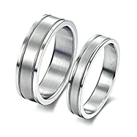 2Pcs Stainless Steel Silver Wedding Band Engagement Rings Comfort Fit 6MM/4MM Women Size P 1/2 & Men Size P 1/2