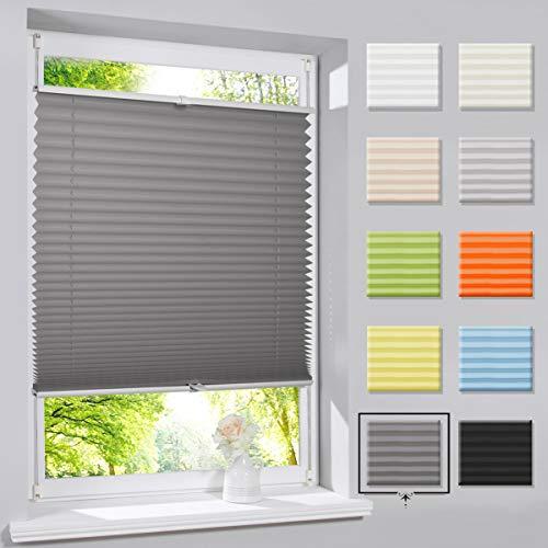 Hunter Mason Plissee Klemmfix Faltrollo ohne Bohren Jalousie Anthrazit 50 x 100 cm (BxH) Rollo Sichtschutz und Sonnenschutz für Fenster & Tür
