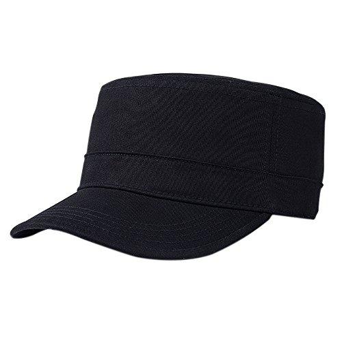 IKuaFly Army Cap Military Stil Schwarz 100% Baumwolle Adjustable Größe Baseball Snapback (Schwarz) (Kuba Kostüm Für Männer)