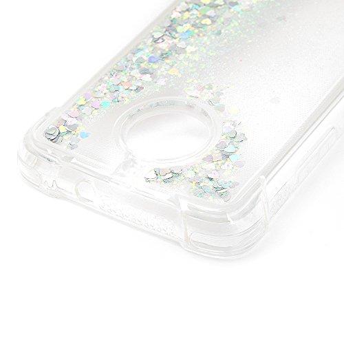 MAXFE.CO Schutzhülle Tasche Case für iPhone X TPU Silikon Cover Einfarbig Etui Protective Schale Bumper Bling Herzen Silber Silber
