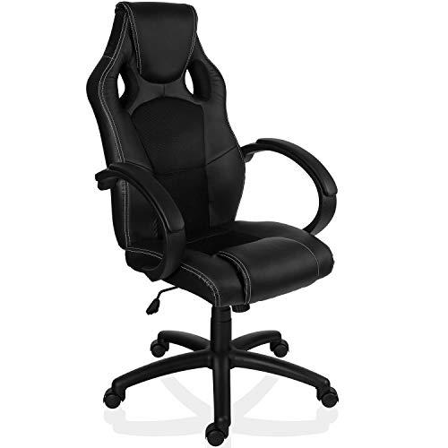 Maxstore RACEMASTER® Racing Bürostuhl GS Series Gaming Chair Gamer Stuhl in 20 Varianten Drehstuhl Gaslift SGS geprüft Schreibtischstuhl Wippmechanik Schwarz