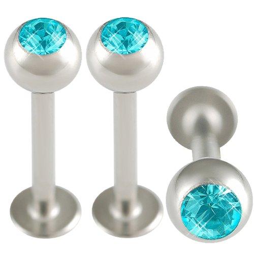 3er set 1,2mm 10mm Lippen Piercing Kristall Labret Madonna Stahl BCKP