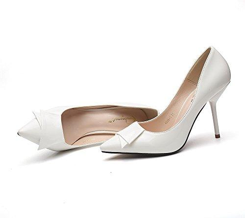 AalarDom Femme Matière Souple Couleur Unie à Talon Correct Pointu Chaussures Légeres Blanc-Pièce Décorée