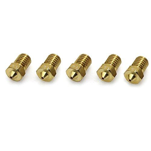 Biqu 3d-m60.4mm in ottone estrusore ugello testina di stampa per 3.0mm filamento stampante 3d (confezione da pezzi), 1.0mm, 5
