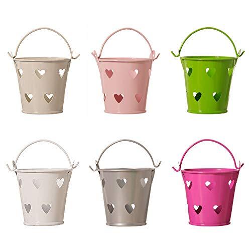 Hohl Kleine Eisen Eimer Mini Metall Eimer Zinn Herzförmige Eimer Lagerung Zubehör für Süßigkeiten Lagerung, Topfpflanzen 6 Stücke