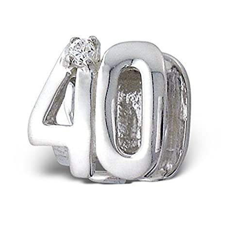 Silvadore - Silver Bead - ''40'' Forty Number Figure Numerals Mothers Birthday Crystal Cz - 925 Sterling Charm 3D Slide On 393 - Fits Pandora European Bracelet - Free Gift