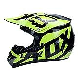 Sdd-Helmet Casque Moto Adulte Cross/Enduro/MX Tout-Terrain - Idéal pour La Route (Inclure Masques, Lunettes de Protection et Gants),BlackYellow,L