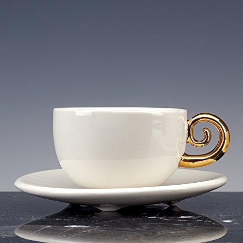 Cuvette cuivre à thé et à café Porcelaine émaillée blanche avec Queue en or 18 carati. Lot de 2 tasses avec PIATTO. fait à la main tasses design !