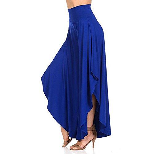 BOZEVON Donne Vita Alta Irregolare Ampia Gamba dei Pantaloni Lounge Pantaloni Blu