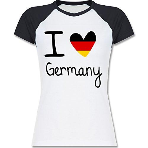 EM 2016 - Frankreich - I love Germany - zweifarbiges Baseballshirt / Raglan T-Shirt für Damen Weiß/Navy Blau