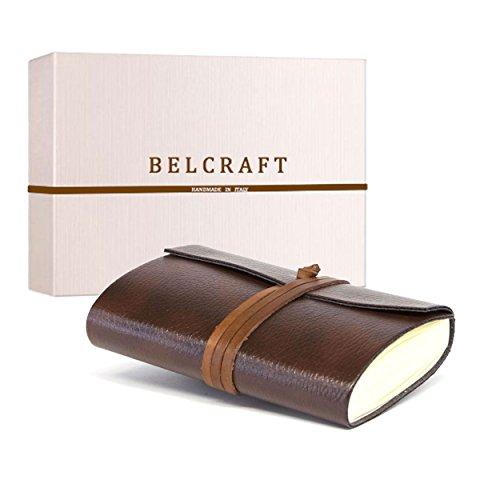 Tivoli kleines Notizbuch aus recyceltem Leder, Handgearbeitet in klassischem Italienischem Stil, Geschenkschachtel inklusive, Tagebuch (9x13 cm) Braun